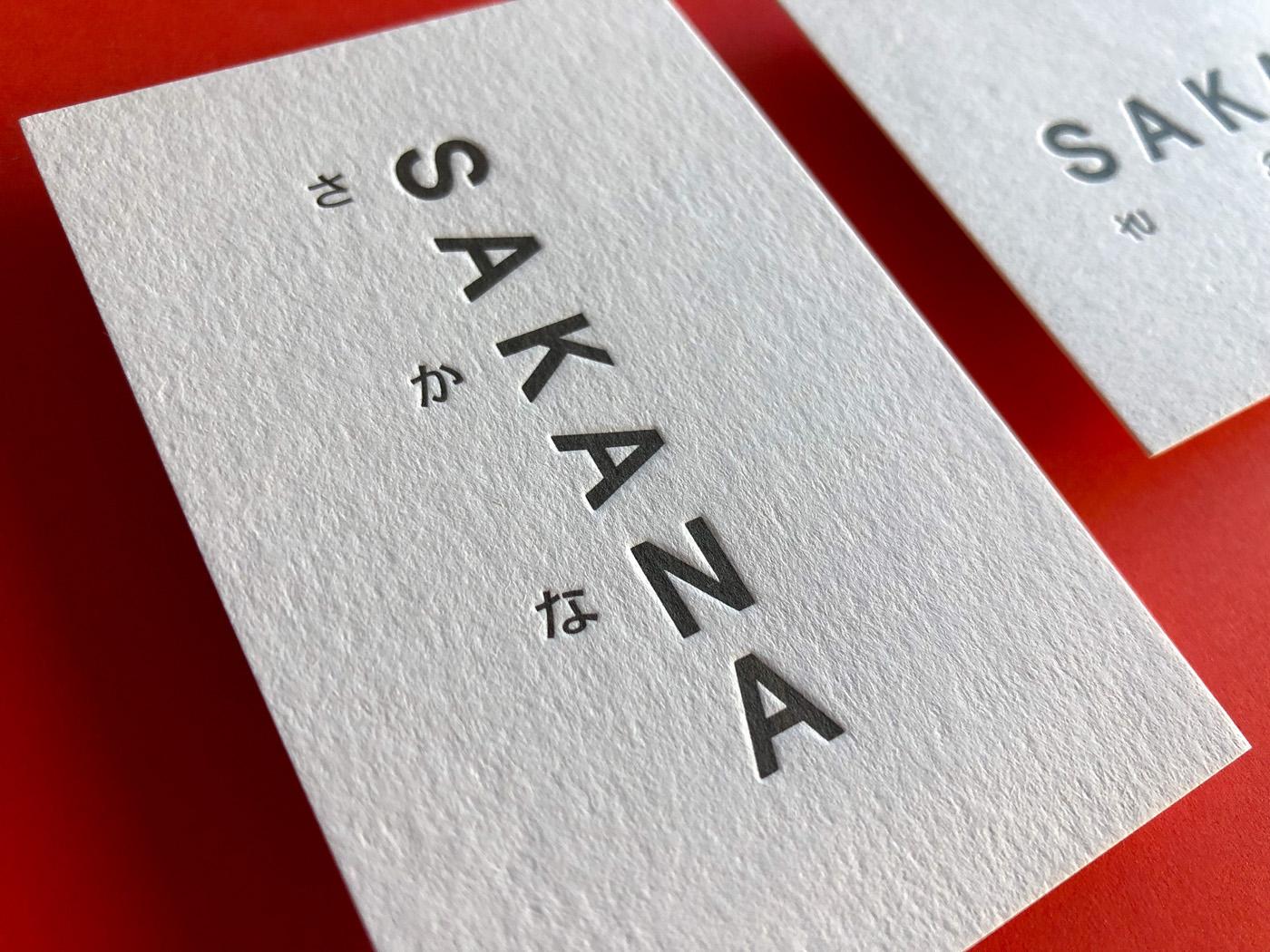 Letterpress business cards for Sakana on Wild 450gsm 1