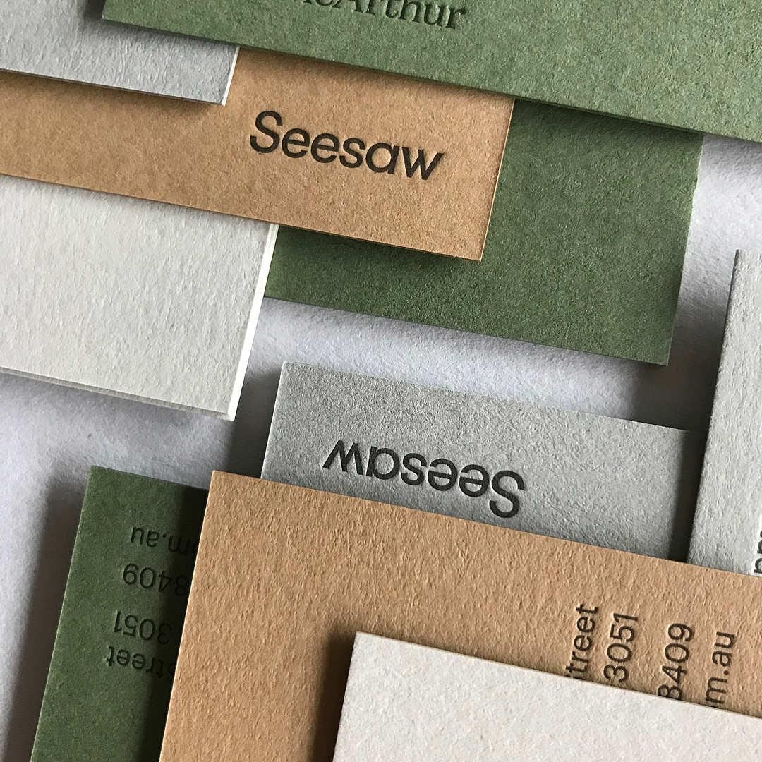 Letterpress Business Cards for Seesaw on Colorplan 1