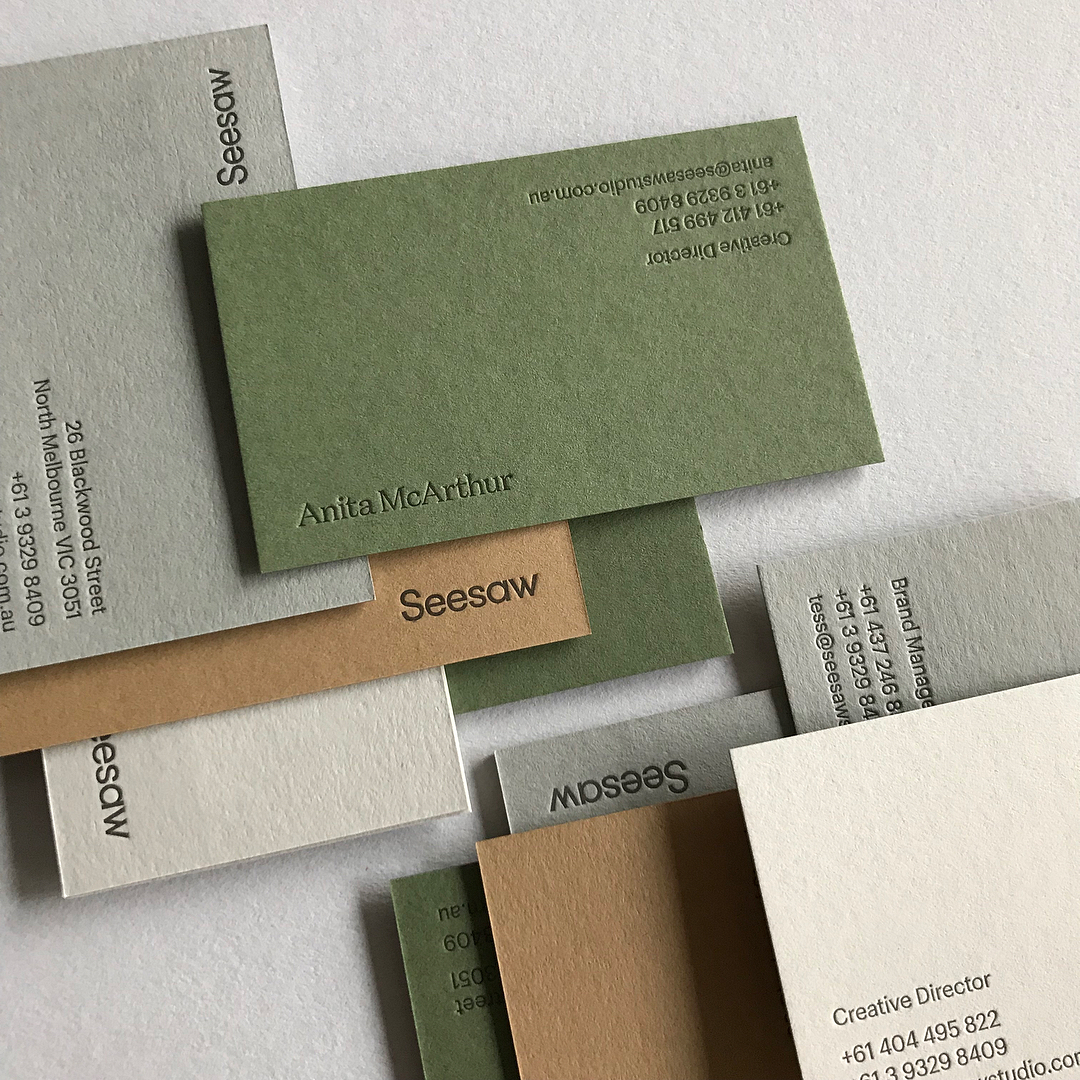 Letterpress Business Cards for Seesaw on Colorplan 2