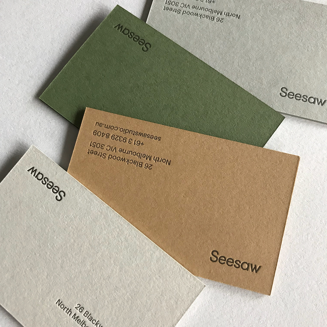 Letterpress Business Cards for Seesaw on Colorplan 3