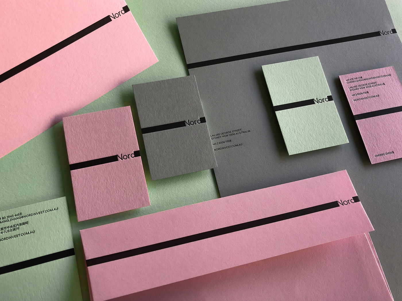 Letterpress Business Cards Letterhead Envelopes for Nord on Colorplan 1
