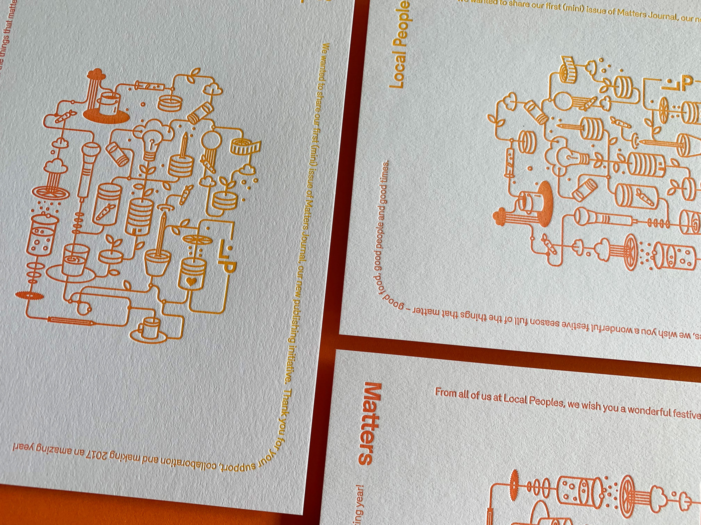 Letterpress printed Christmas cards for Local Peoples on Stephen Gesso White 1