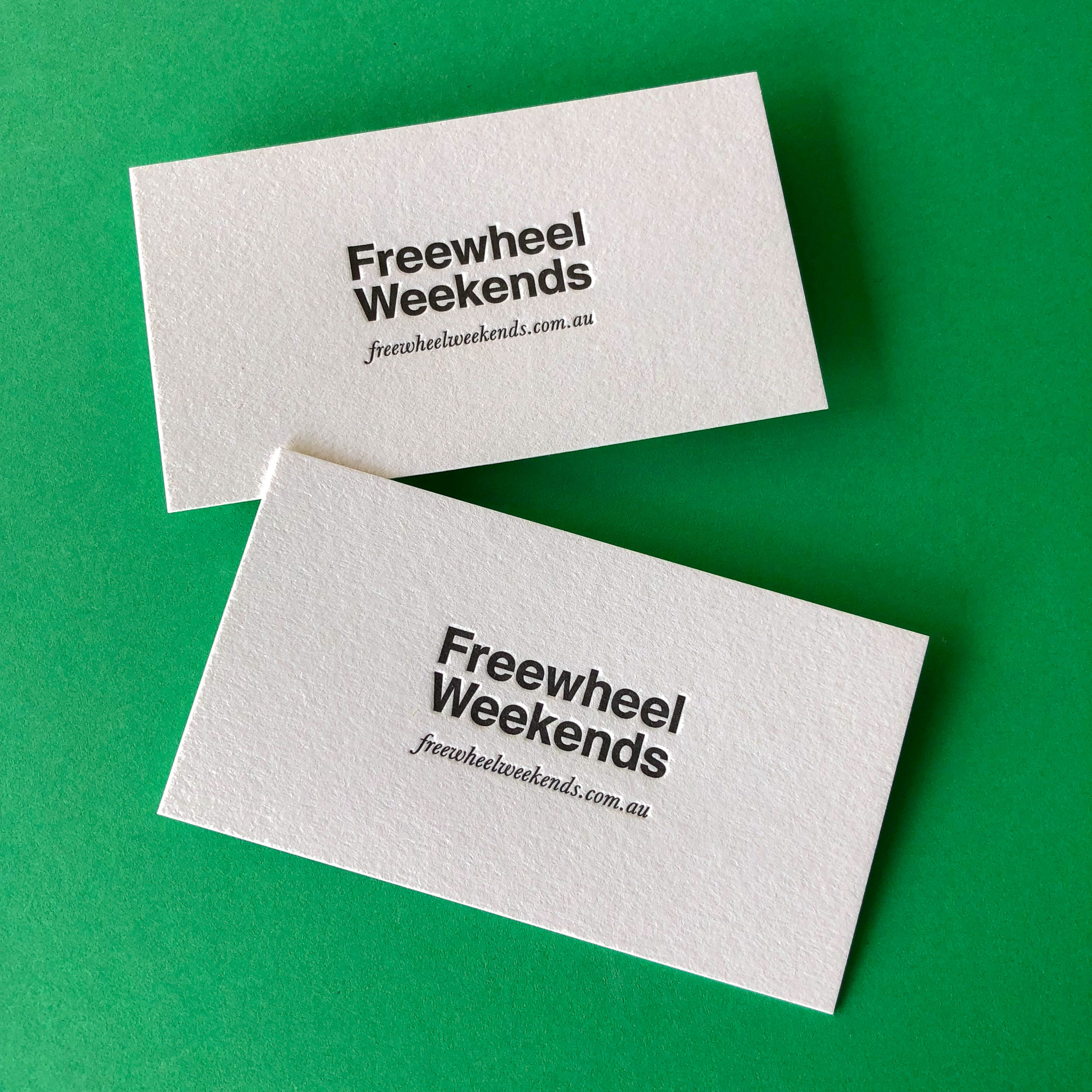 Letterpress standard business cards for Freewheel Weekends on Stephen 1