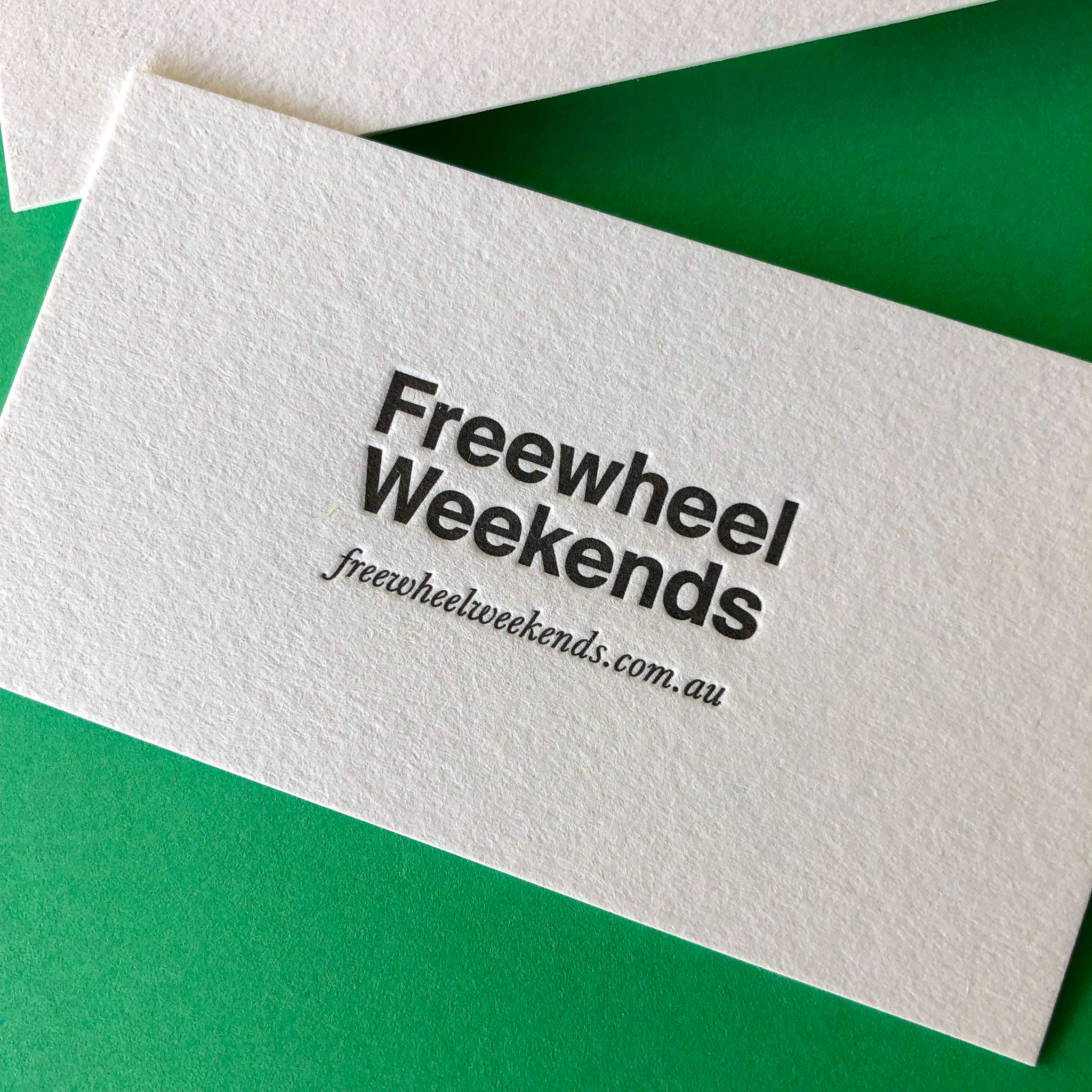 Letterpress standard business cards for Freewheel Weekends on Stephen 2