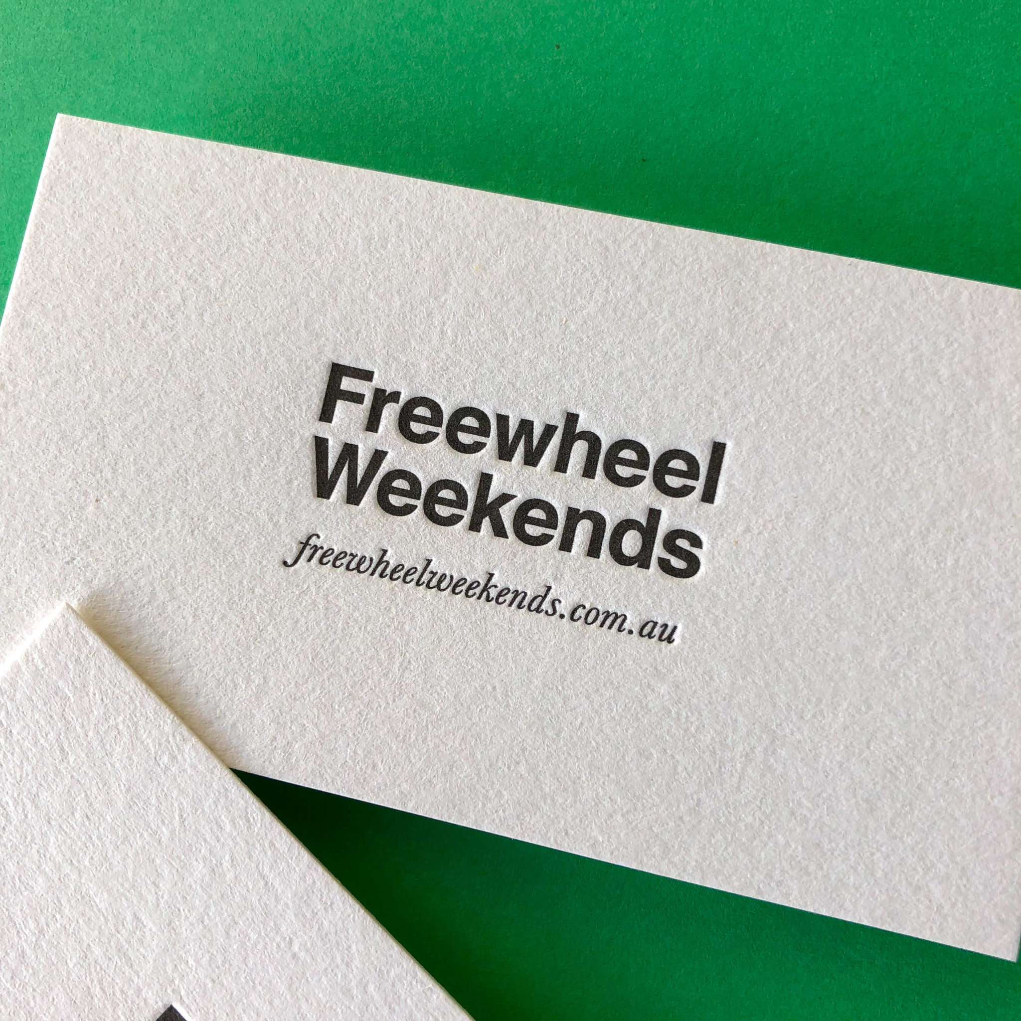 Letterpress standard business cards for Freewheel Weekends on Stephen 3