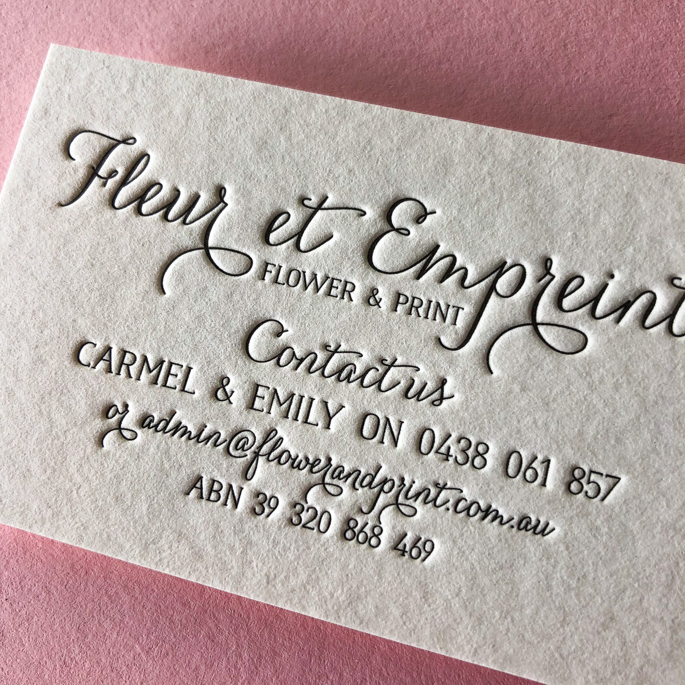 Premium business cards for Fleur et Empreinte on Wild