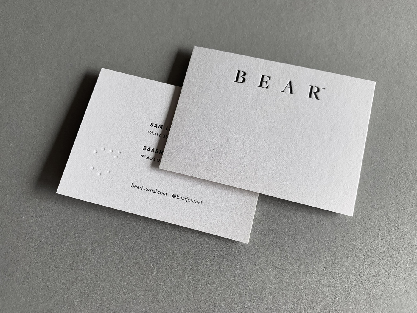 Specialty Letterpress Business Cards for Bear on Stephen 1