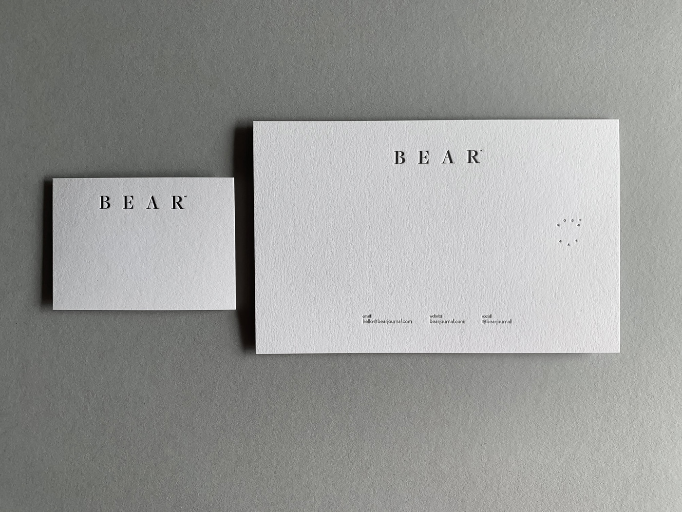 Specialty Letterpress With Compliments and Business Cards for Bear on Stephen 1