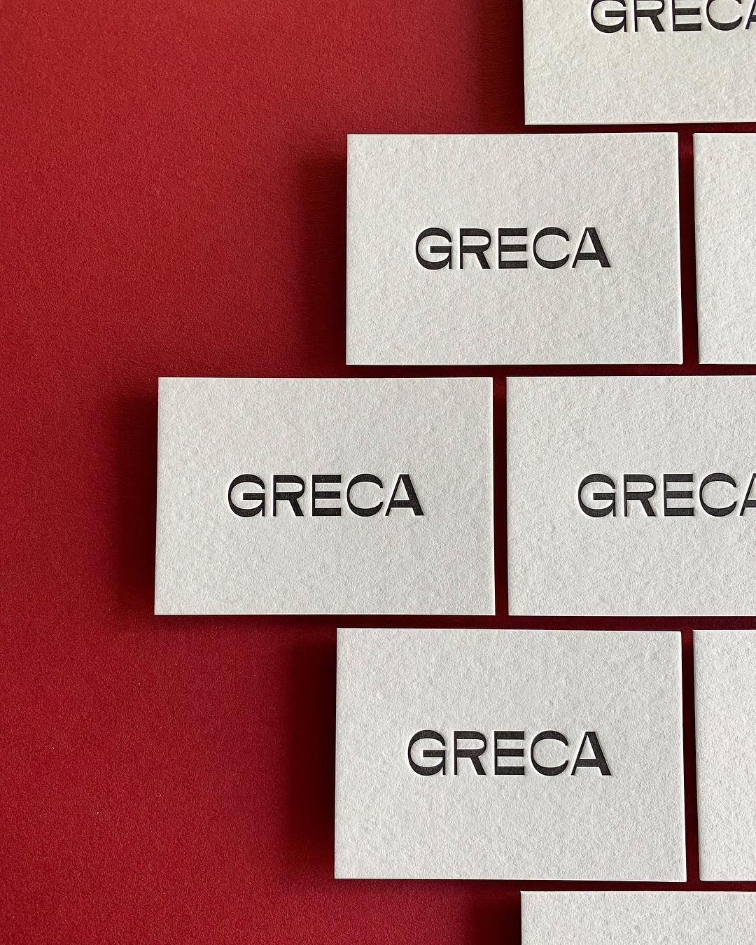 Thick Letterpress Business Cards for Greca on Wild 3