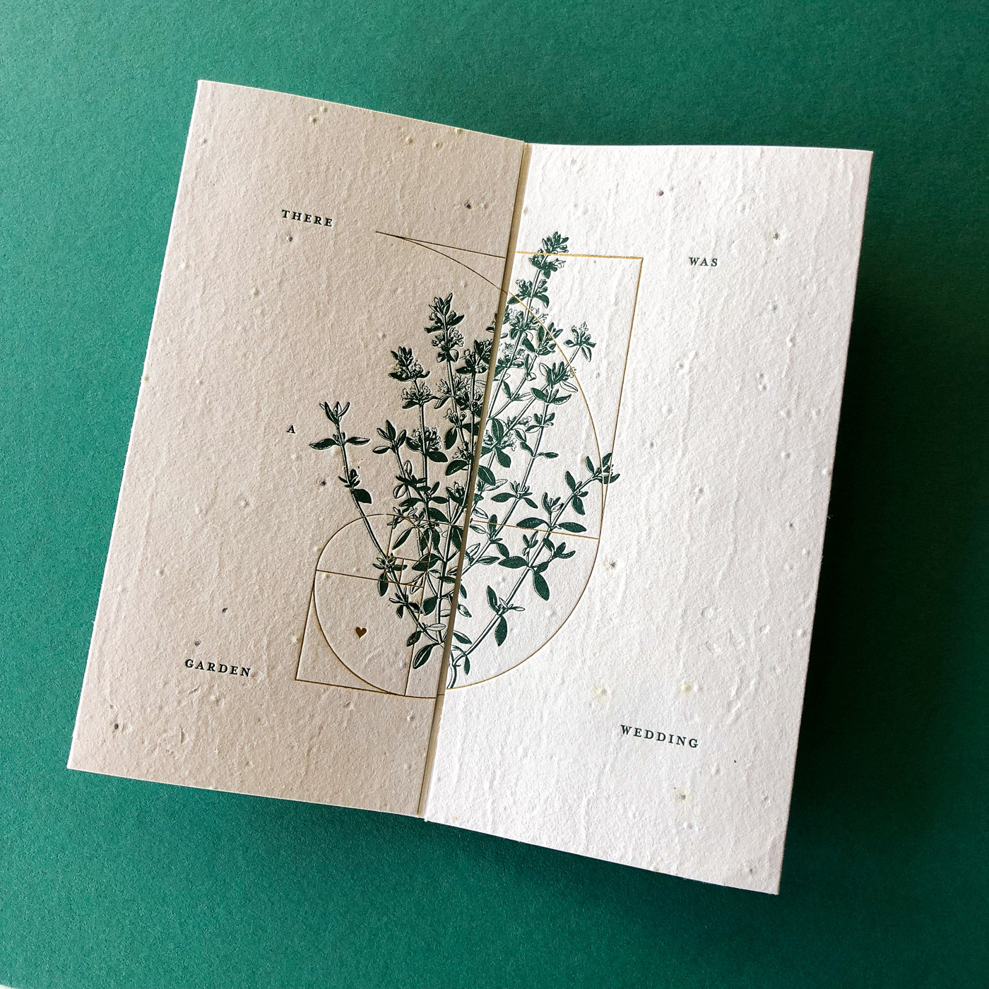 Unique letterpress and gold foil invitations designed for Cassy and Ben on handmade seed paper 1