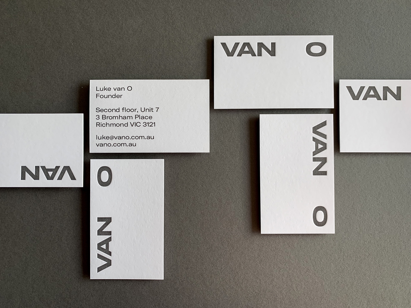 Unique Letterpress Business Cards for Van O on Curious Matter Curious Skin 1