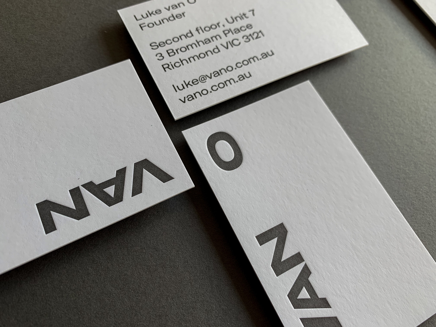 Unique Letterpress Business Cards for Van O on Curious Matter Curious Skin 3
