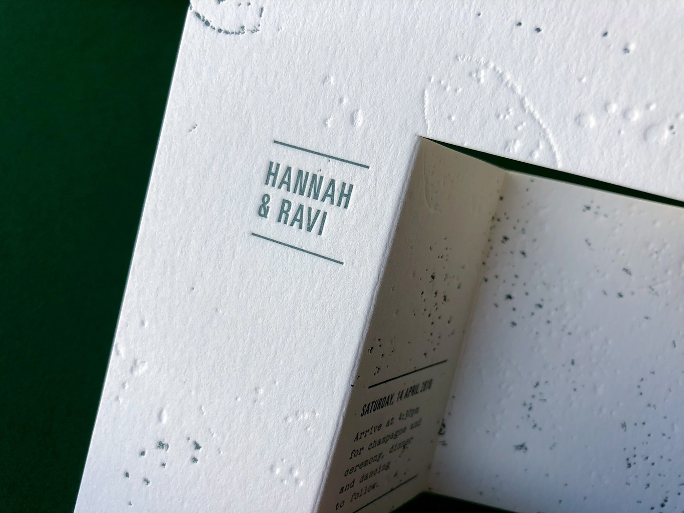 Unique papercraft wedding invitations letterpress printed and design in Australia for Hannah and Ravi on Wild 4