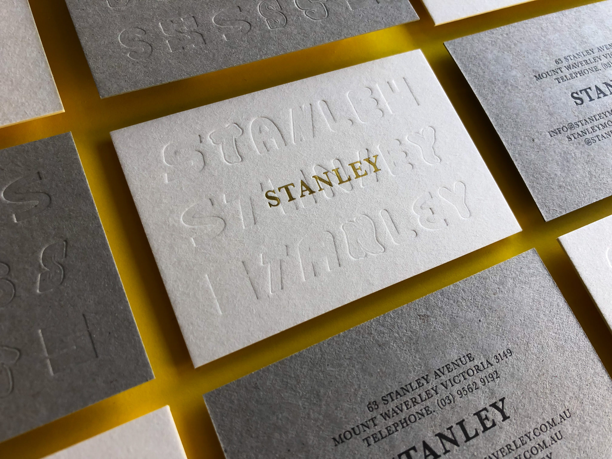 Gold Foil and Letterpress Business Cards for Stanley on Beer Matt Board and Boxboard 1
