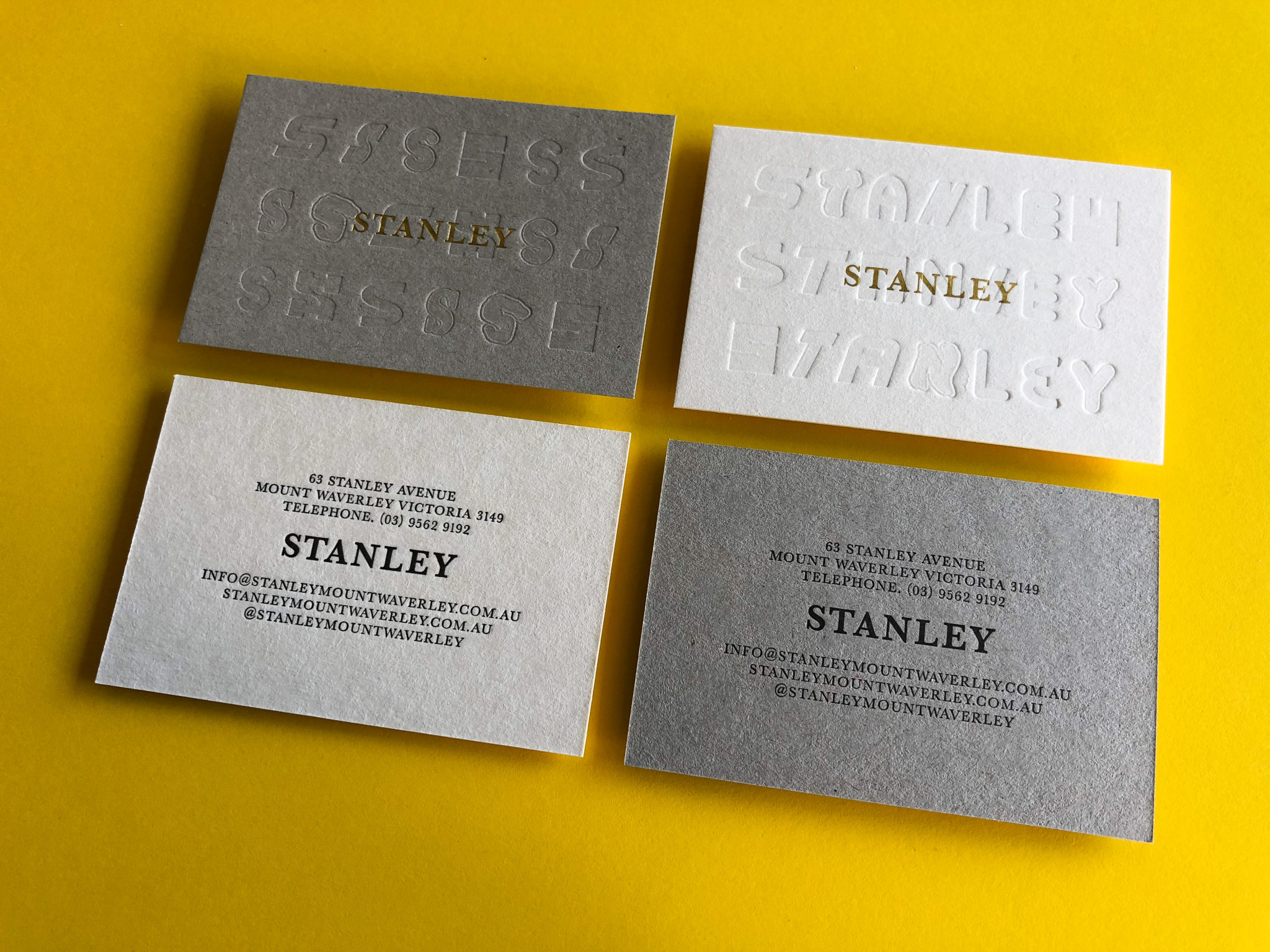 Gold Foil and Letterpress Business Cards for Stanley on Beer Matt Board and Boxboard 3