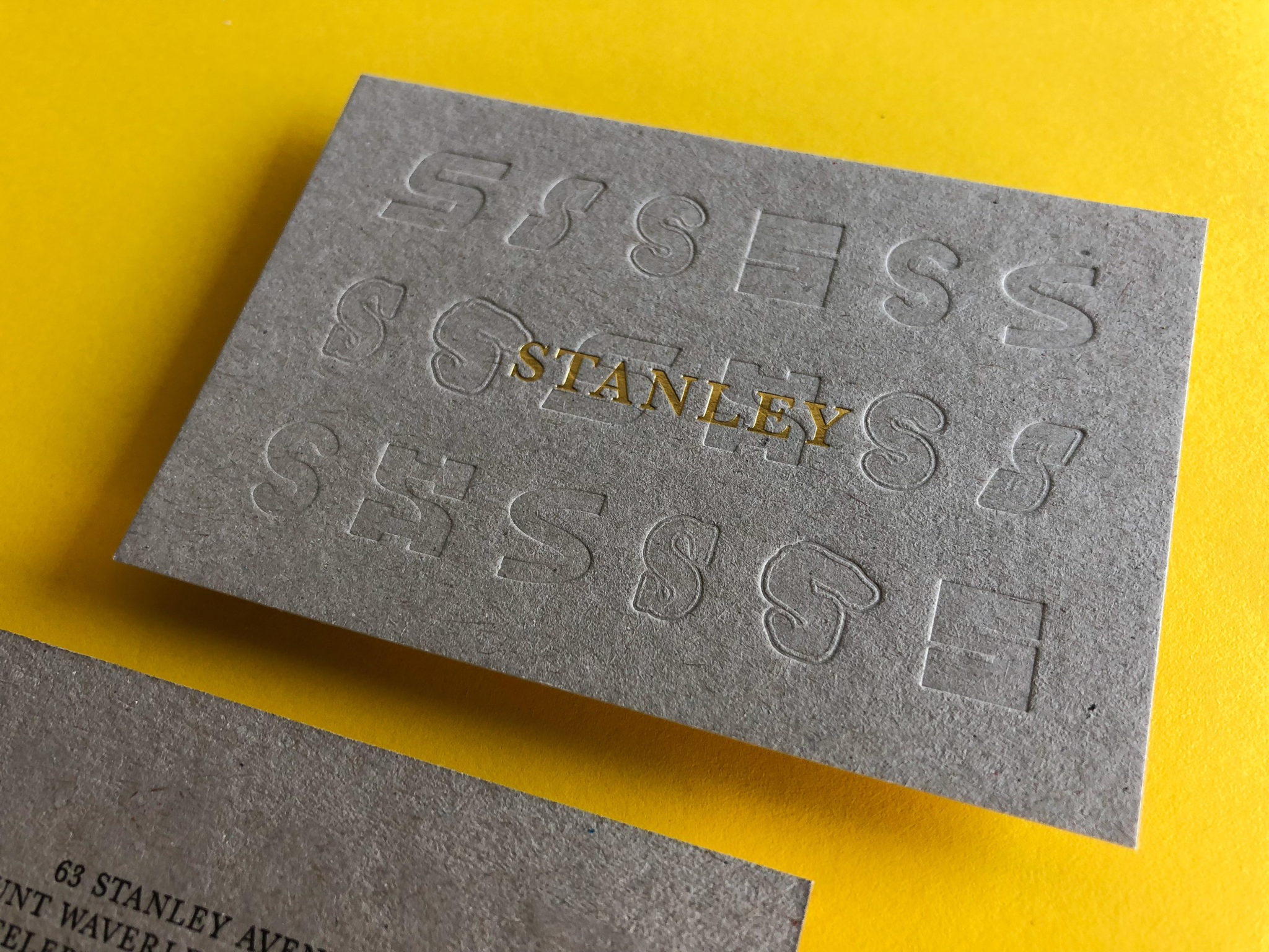 Gold Foil and Letterpress Business Cards for Stanley on Boxboard