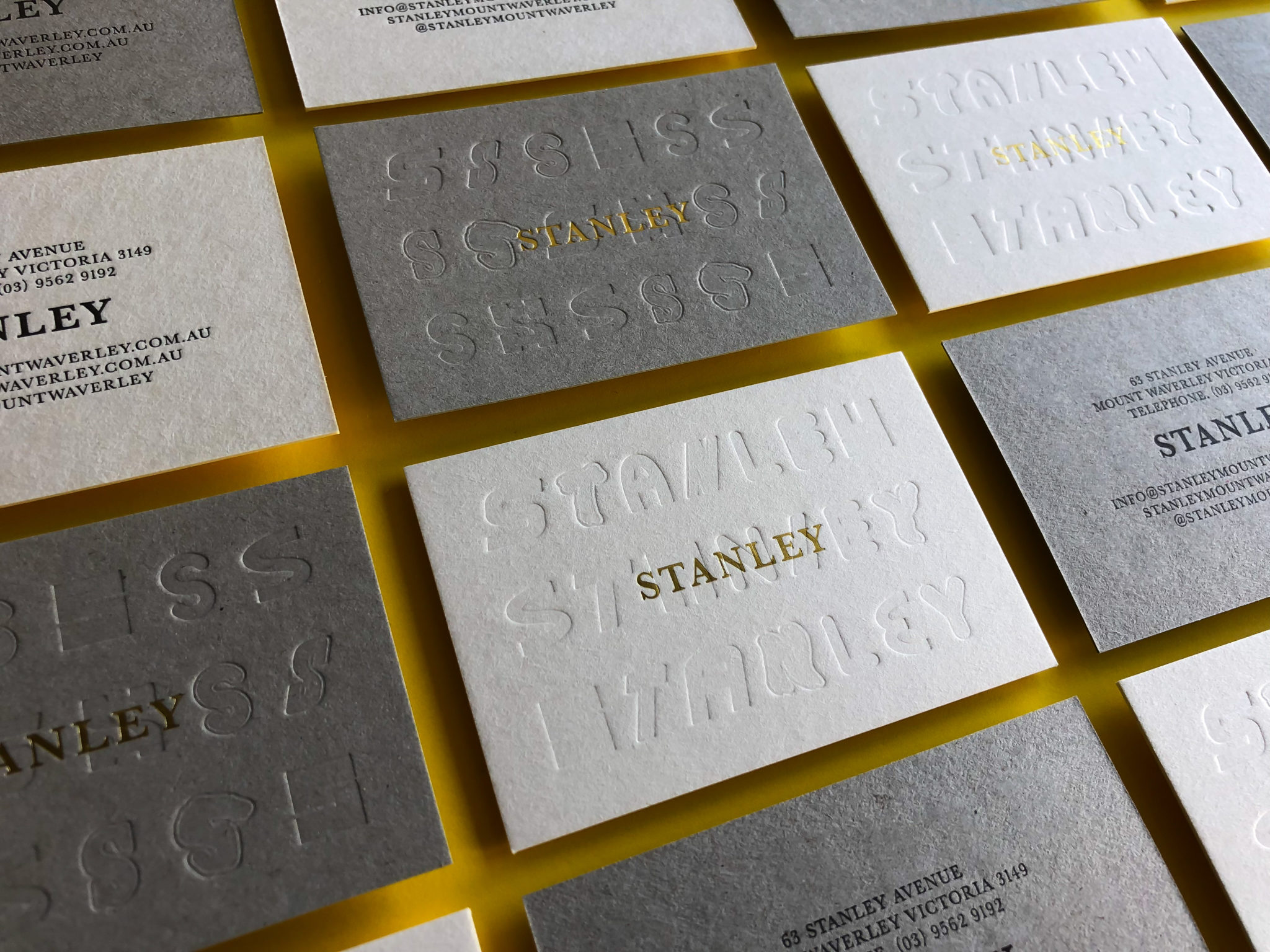 Gold Foil Business Cards for Stanley on Beer Matt Board and Boxboard 2