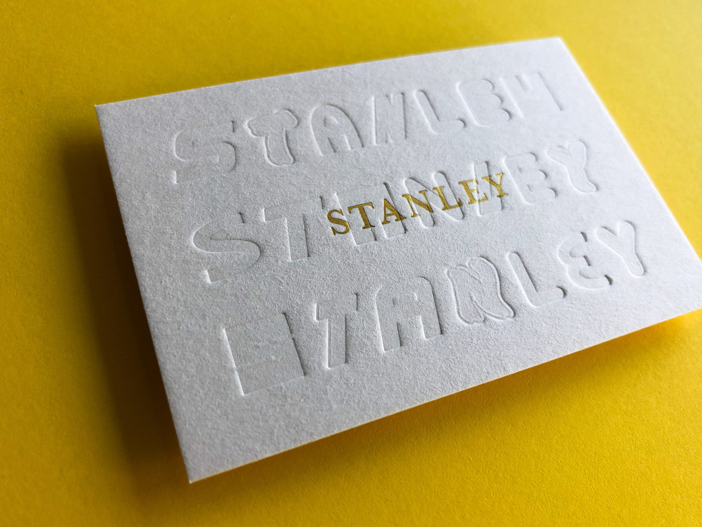 Gold Foil Letterpress Business Cards for Stanley on Beer Matt Board 1