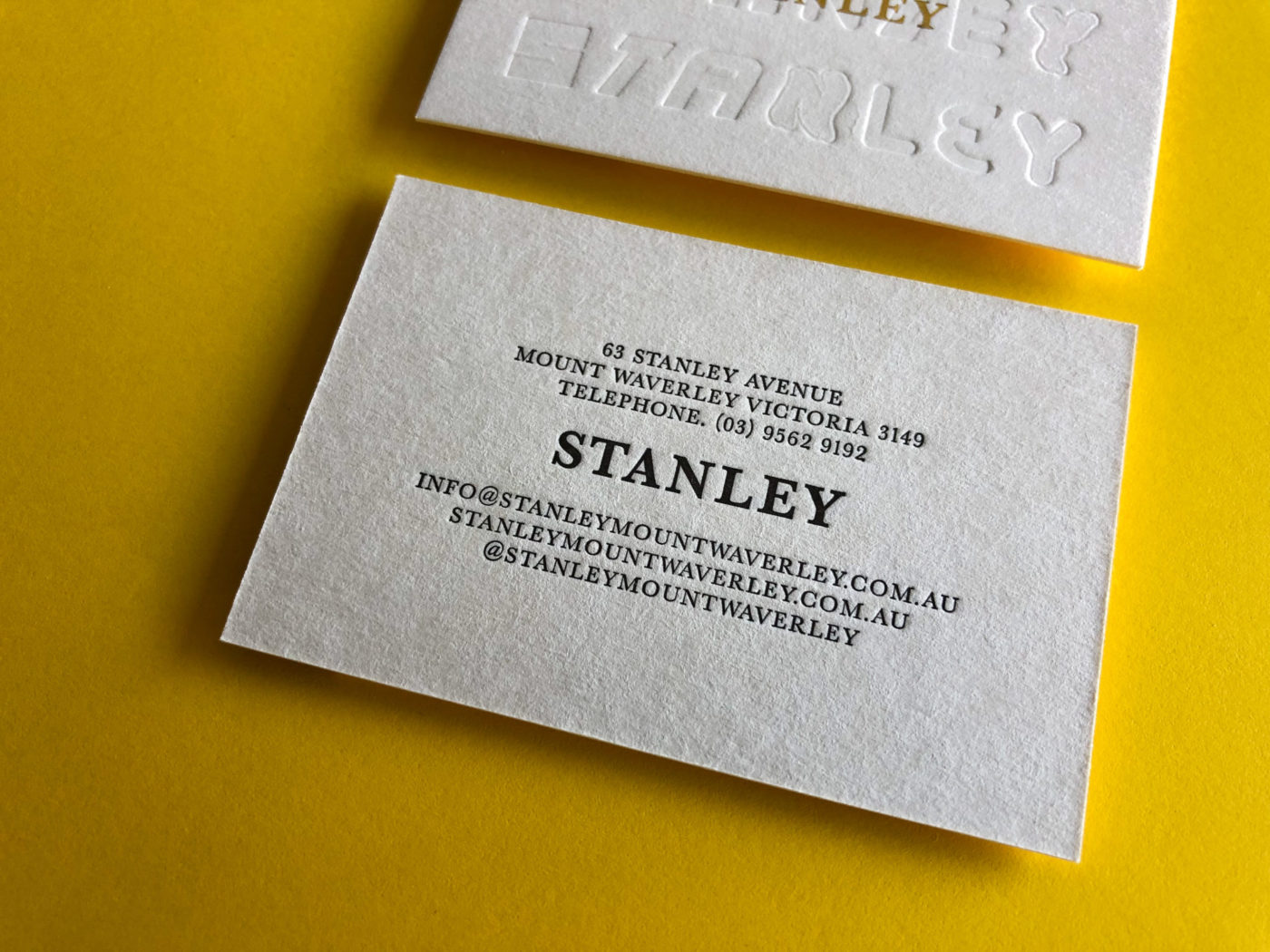 Gold Foil Letterpress Business Cards for Stanley on Beer Matt Board 2