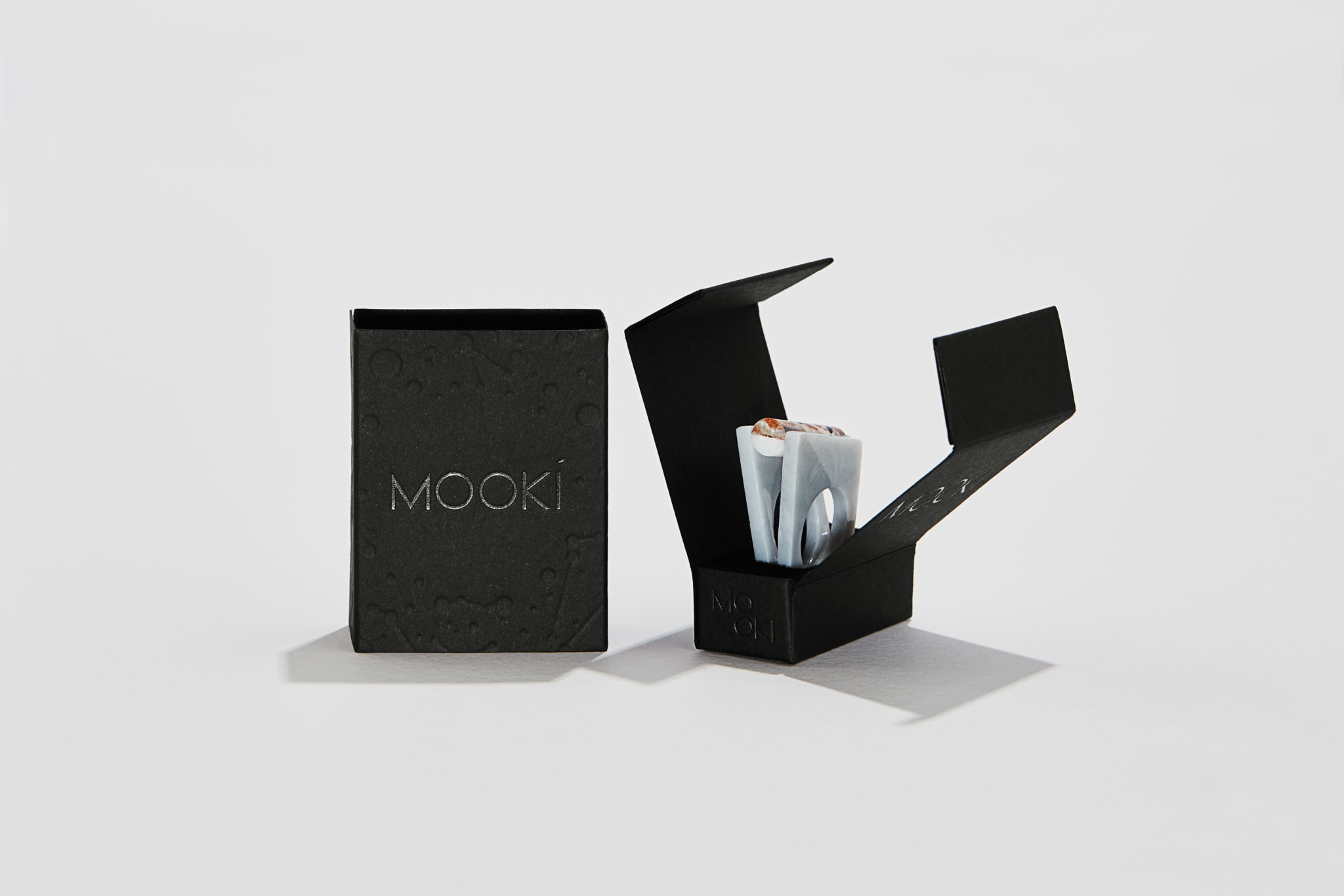 Letterpress and Foil Packaging for Mooki on Keaykolour Jet Black 2
