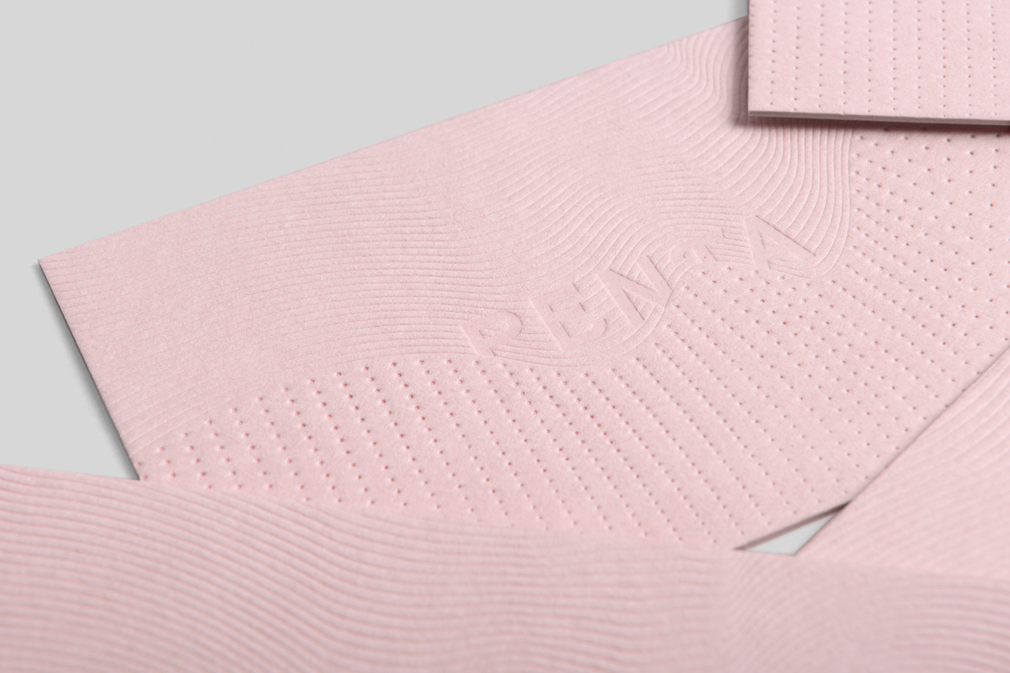 Custom letterpress business cards for Penta on Colorplan Candy Pink 1