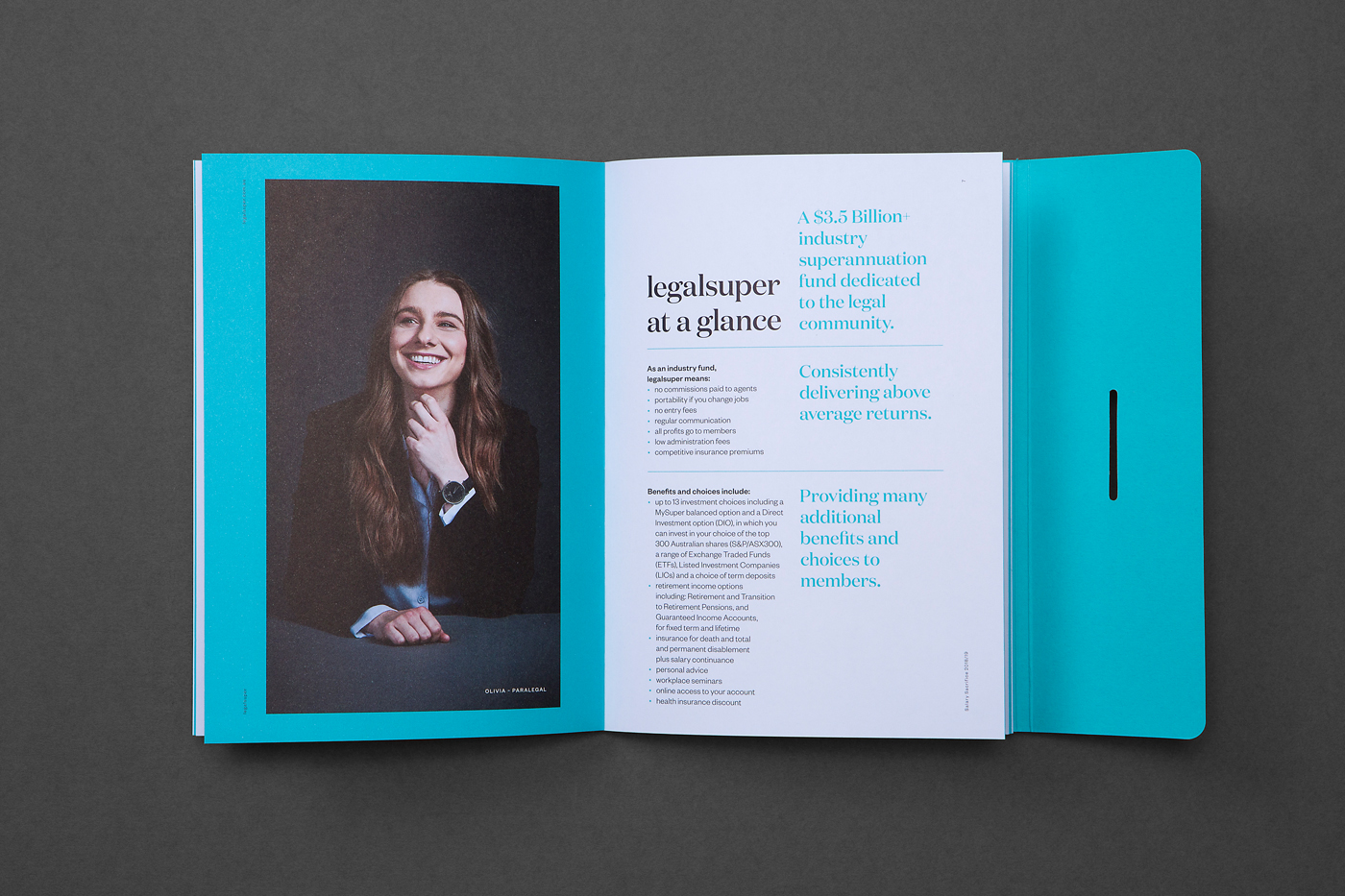 Stationery design for legalsuper booklet on Pacesetter Laser