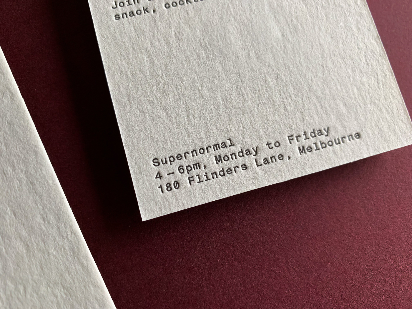 Unique letterpress promotional business card for Supernormal on Wild 4