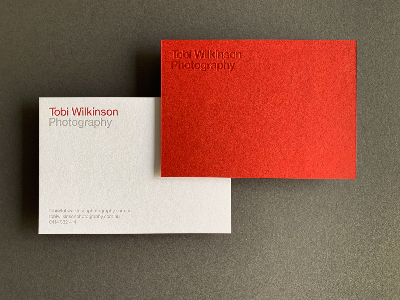 With compliments cards letterpress printed for Tobi Wilkinson on Colorplan Vermilion duplexed to Colorplan Pristine White 1