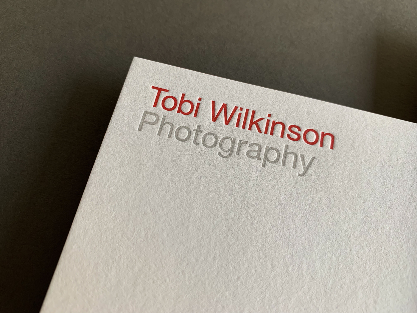 With compliments cards letterpress printed for Tobi Wilkinson on Colorplan Vermilion duplexed to Colorplan Pristine White 2