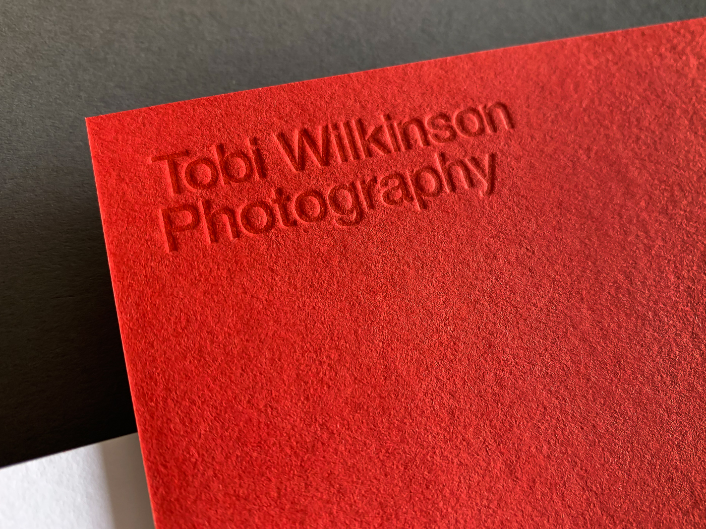 With compliments cards letterpress printed for Tobi Wilkinson on Colorplan Vermilion duplexed to Colorplan Pristine White 3