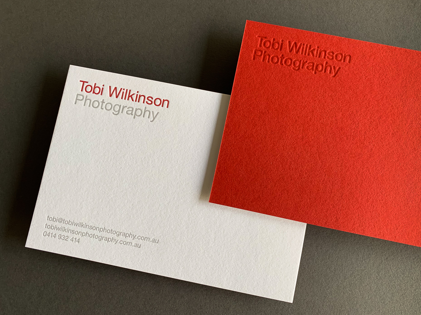With compliments cards letterpress printed for Tobi Wilkinson on Colorplan Vermilion duplexed to Colorplan Pristine White 4