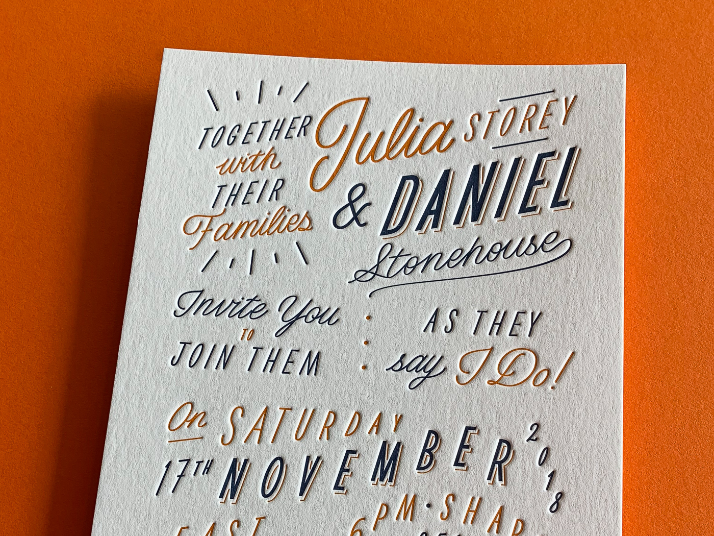 Custom typographic letterpress invitations on Wild