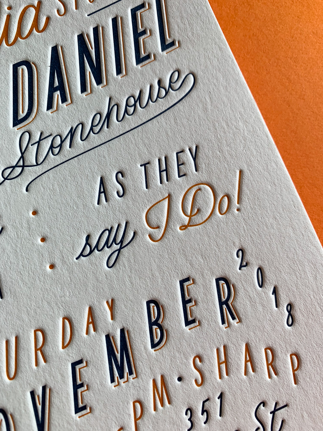 Custom typographic letterpress wedding invitations on Wild 1