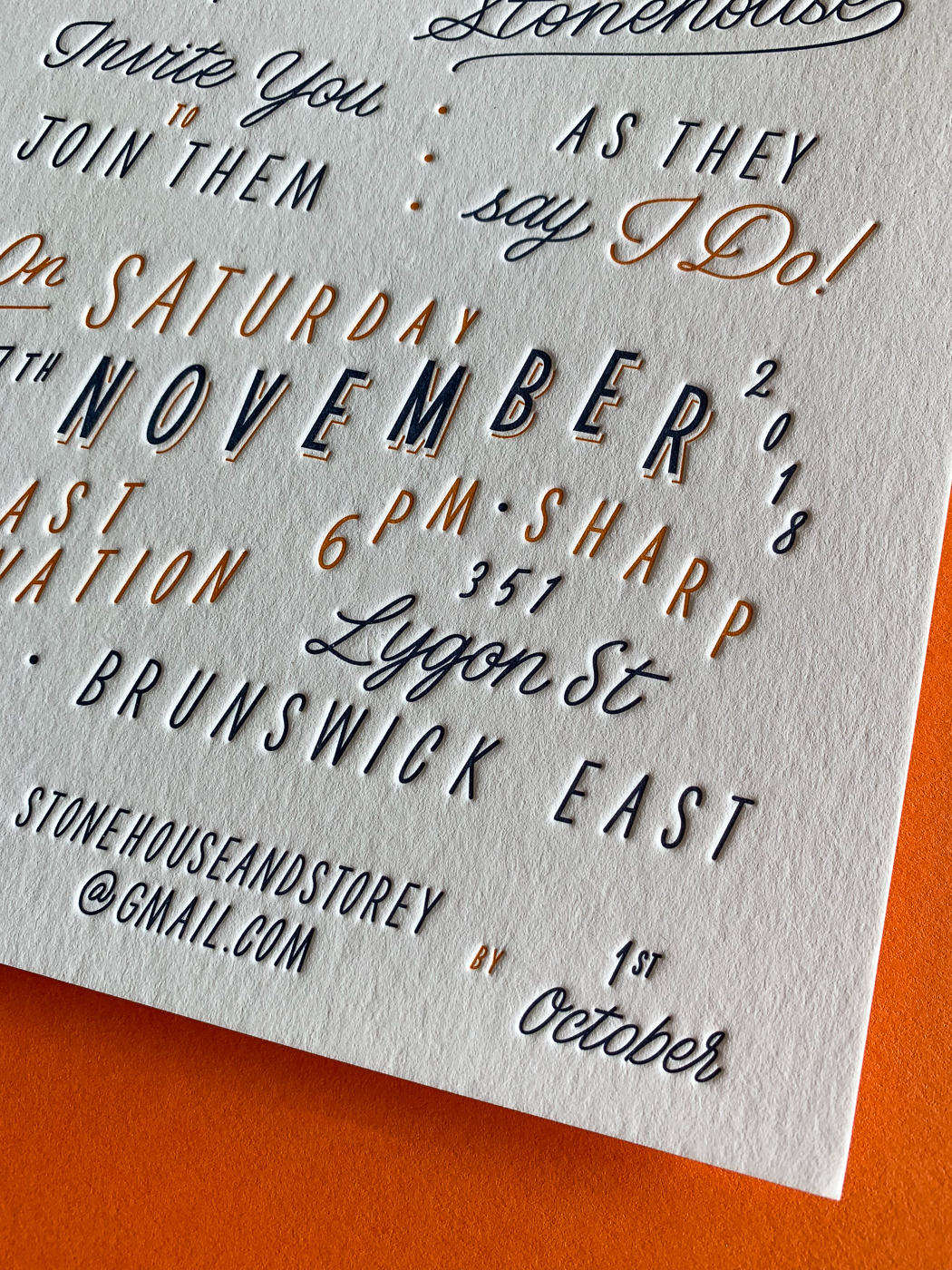 Custom typographic letterpress wedding invitations on Wild 2