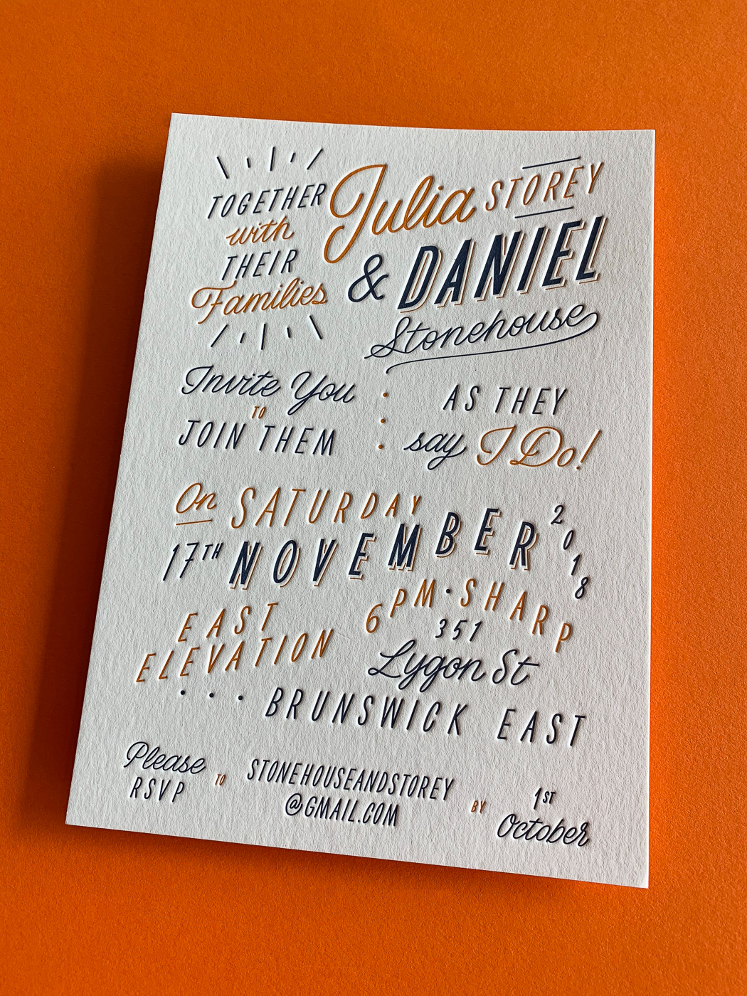Custom typographic letterpress wedding invitations on Wild 4