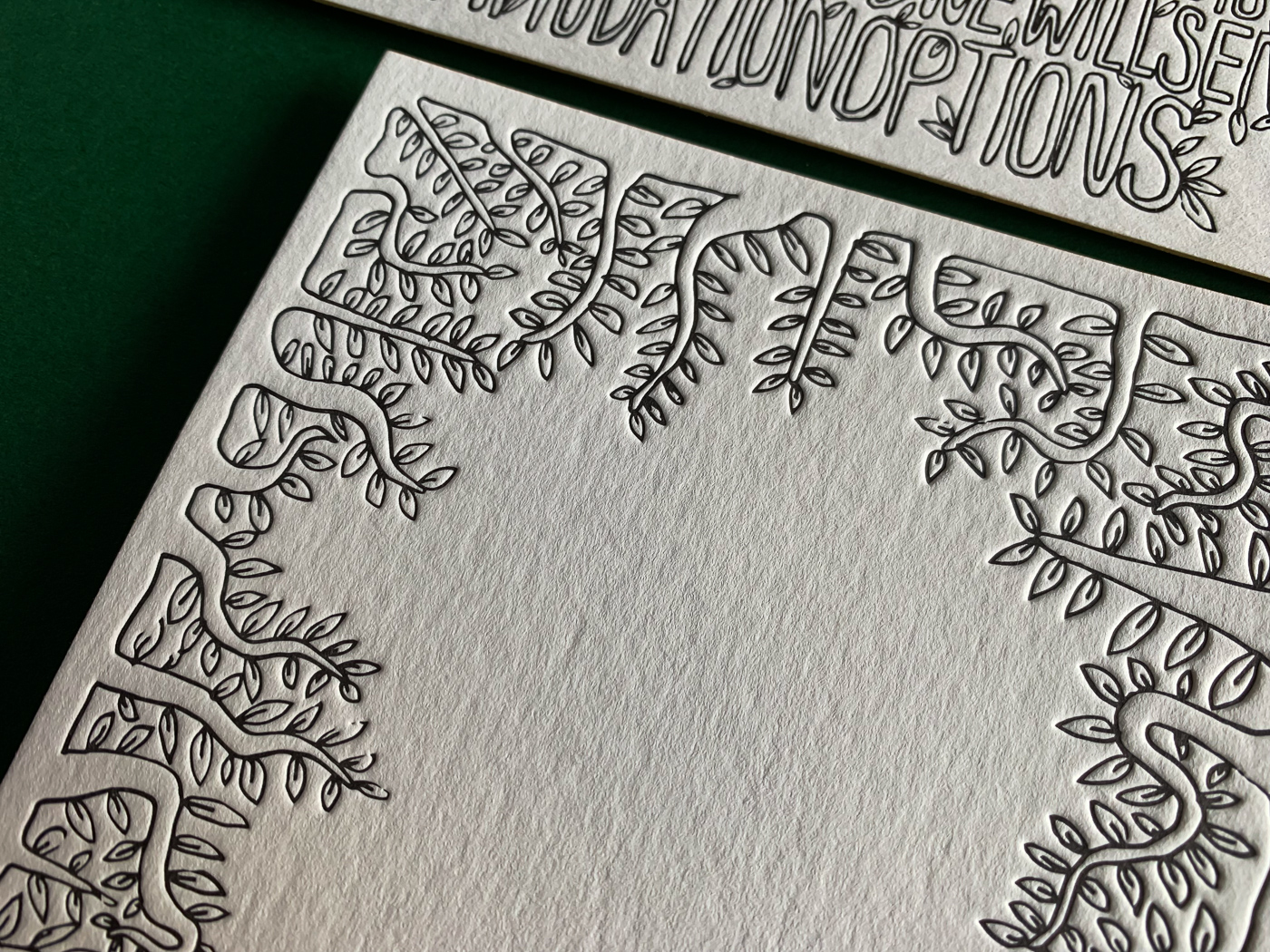 Unique leafy letterpress wedding invitations on Wild 3