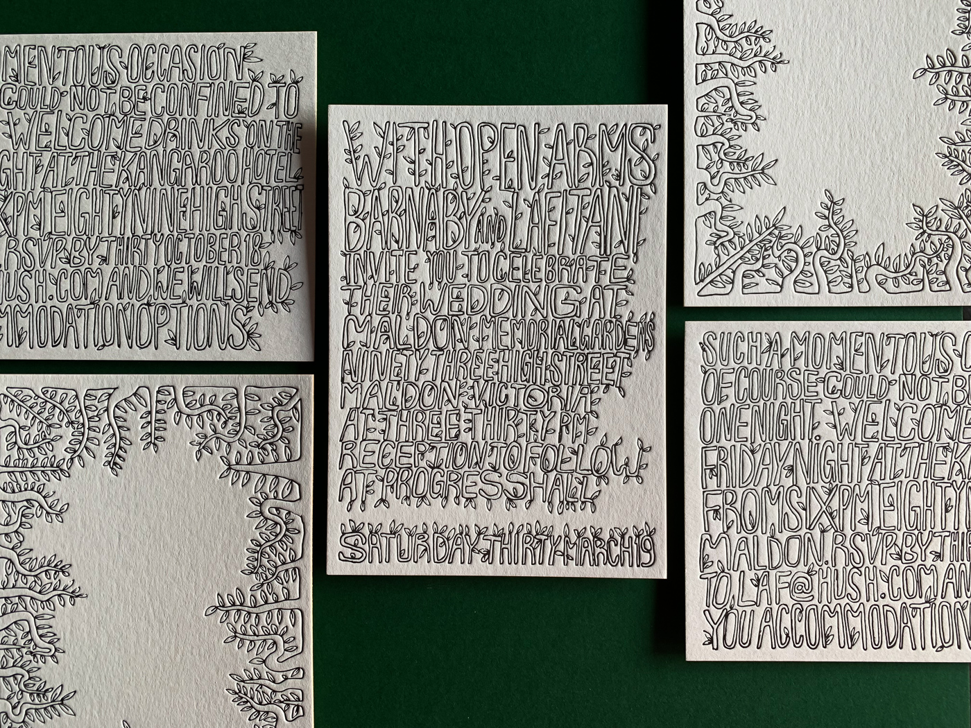 Unique leafy typographic letterpress wedding invitations on Wild