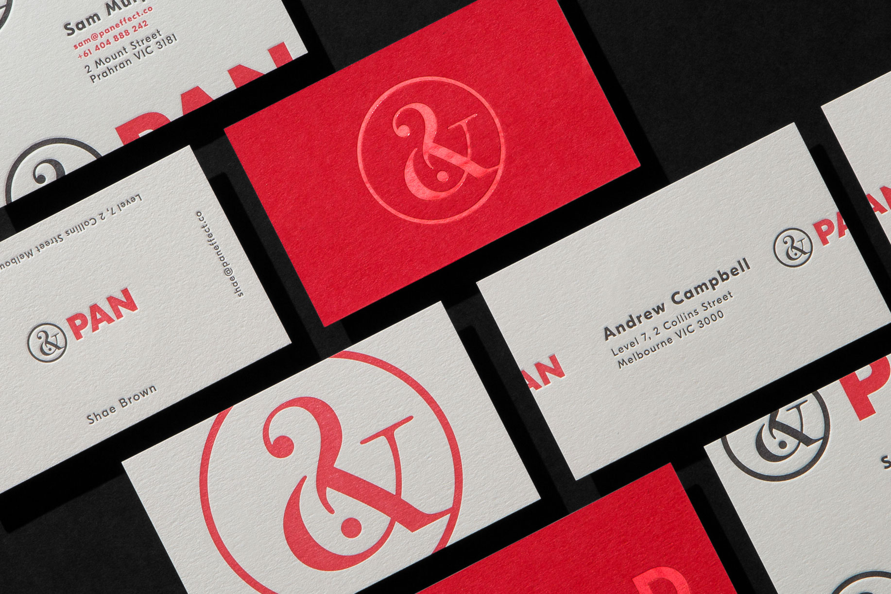 Red Foil and Letterpress Business Cards for PAN on Colorplan Bright Red duplexed to Colorplan Mist 1