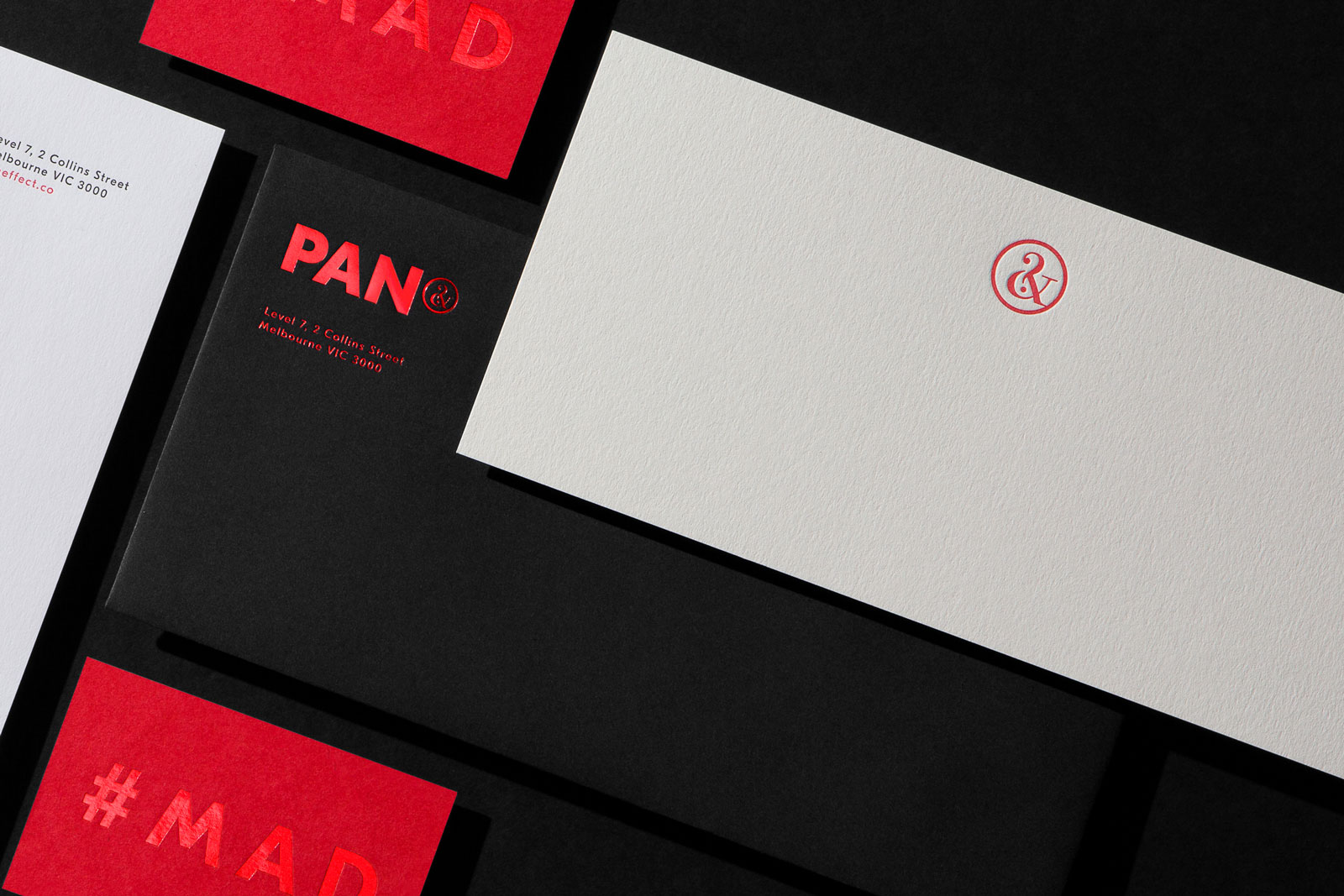 Red Foil and Letterpress Business Cards With Compliments Letterhead Envelopes for PAN on Colorplan Bright Red duplexed to Colorplan Mist 1