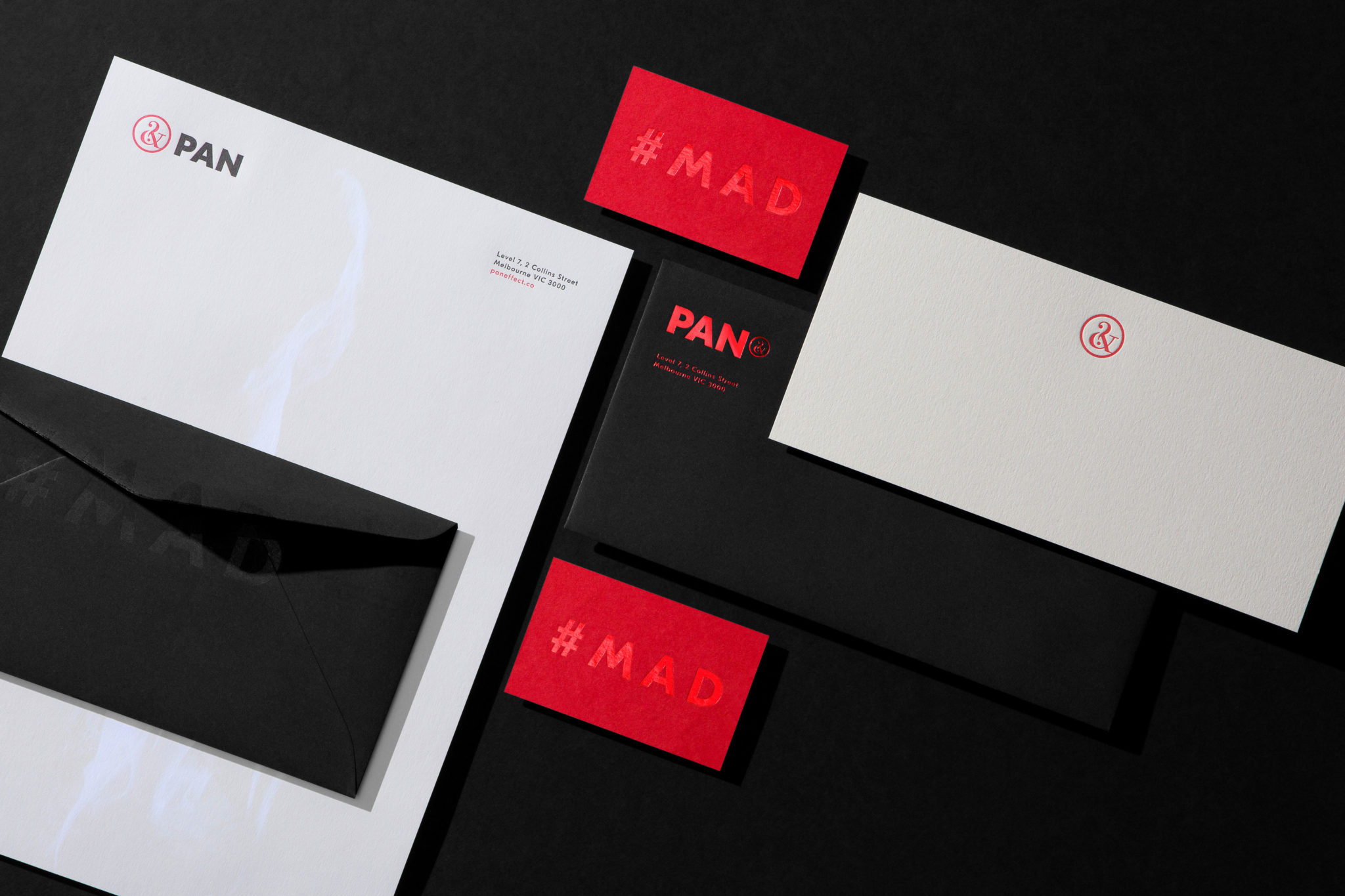 Red Foil and Letterpress Business Cards With Compliments Letterhead Envelopes for PAN on Colorplan Bright Red duplexed to Colorplan Mist 2