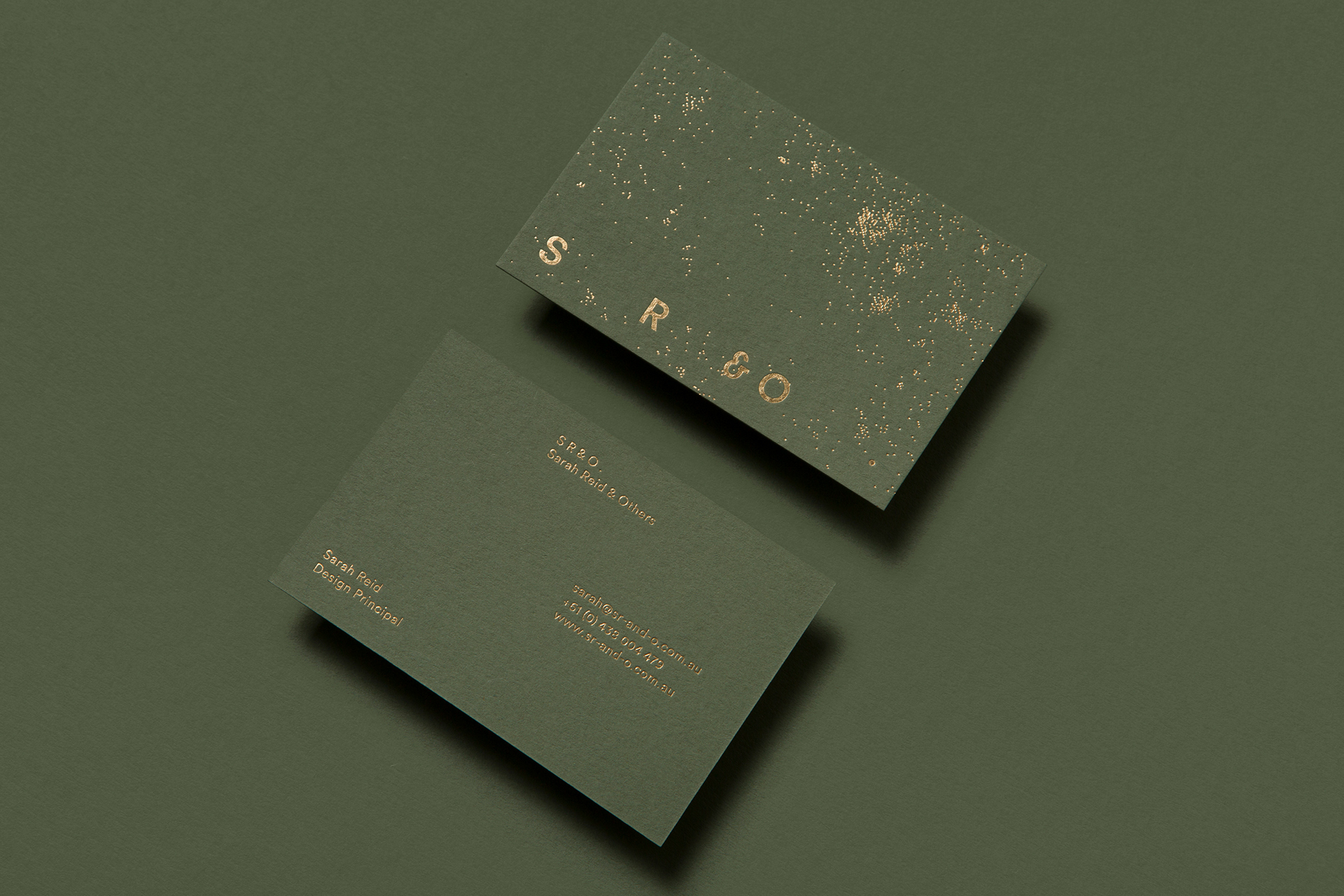 Foil stamped business cards for SR&O by Pop & Pac on Colorplan Mid Green 540gsm