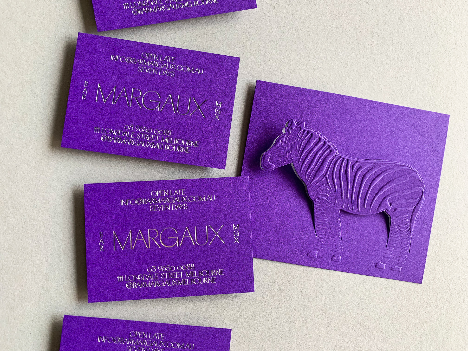 Foil business cards and embossed bill folds for Bar Margaux on Colorplan Purple 270gsm 1