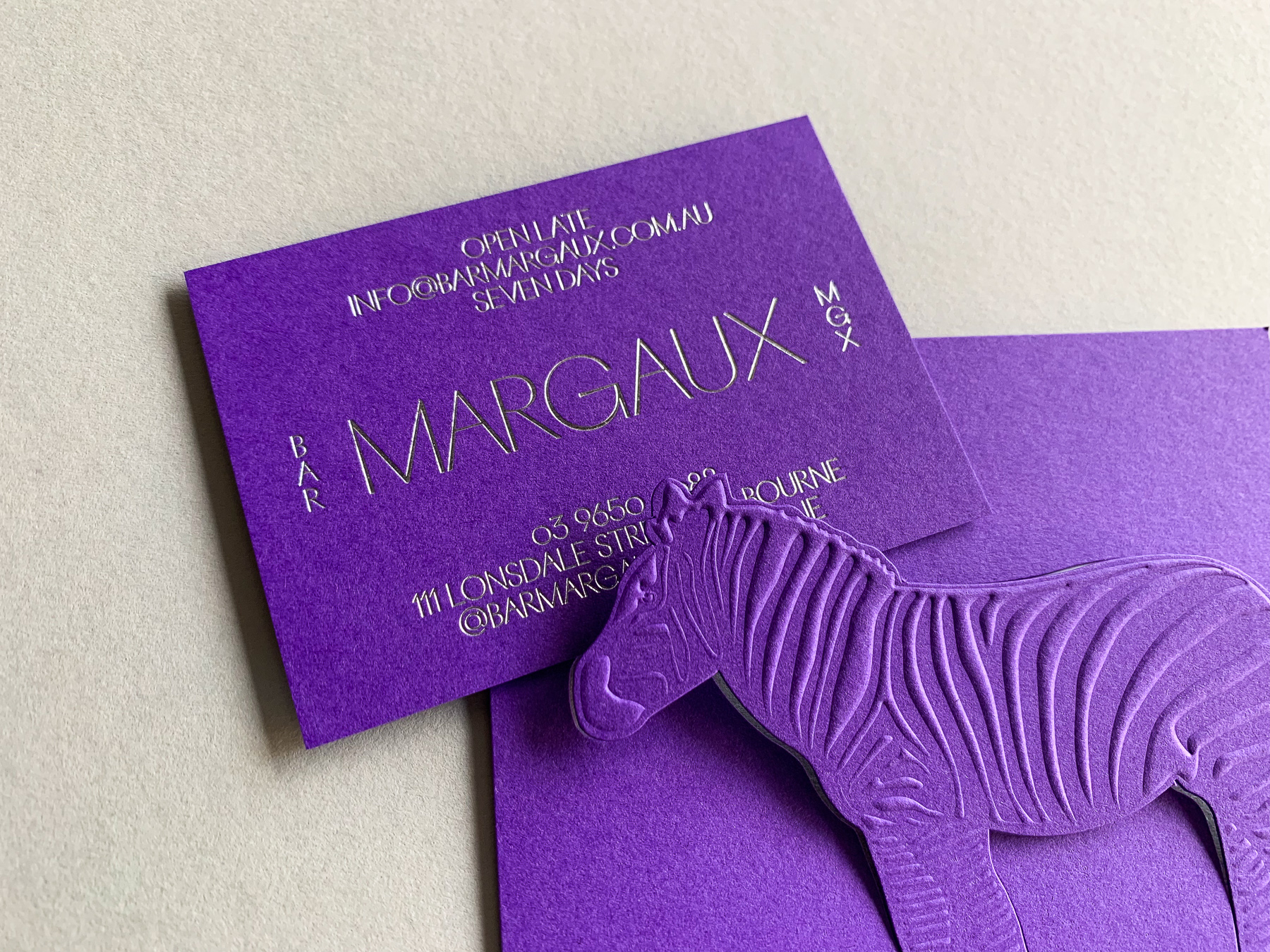 Foil business cards and embossed bill folds for Bar Margaux on Colorplan Purple 270gsm 2