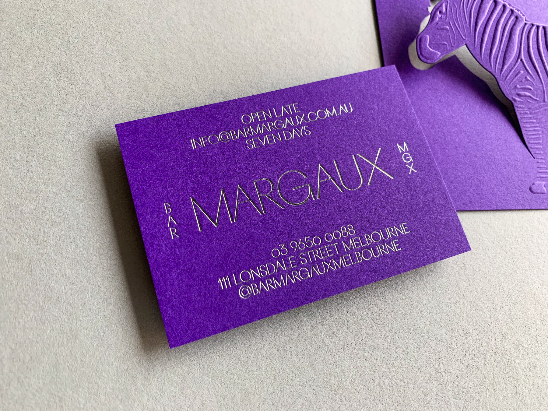 Foil business cards for Bar Margaux on Colorplan Purple 270gsm 1