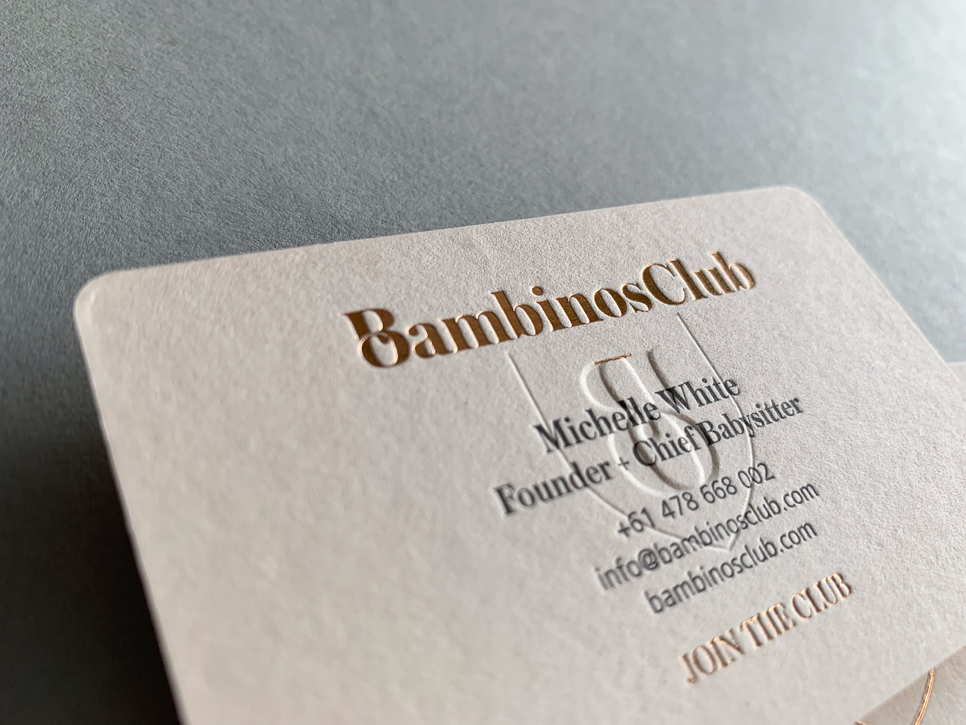 Foil stamped and embossed for Bambinos Club on Colorplan Vellum White 540gsm 1