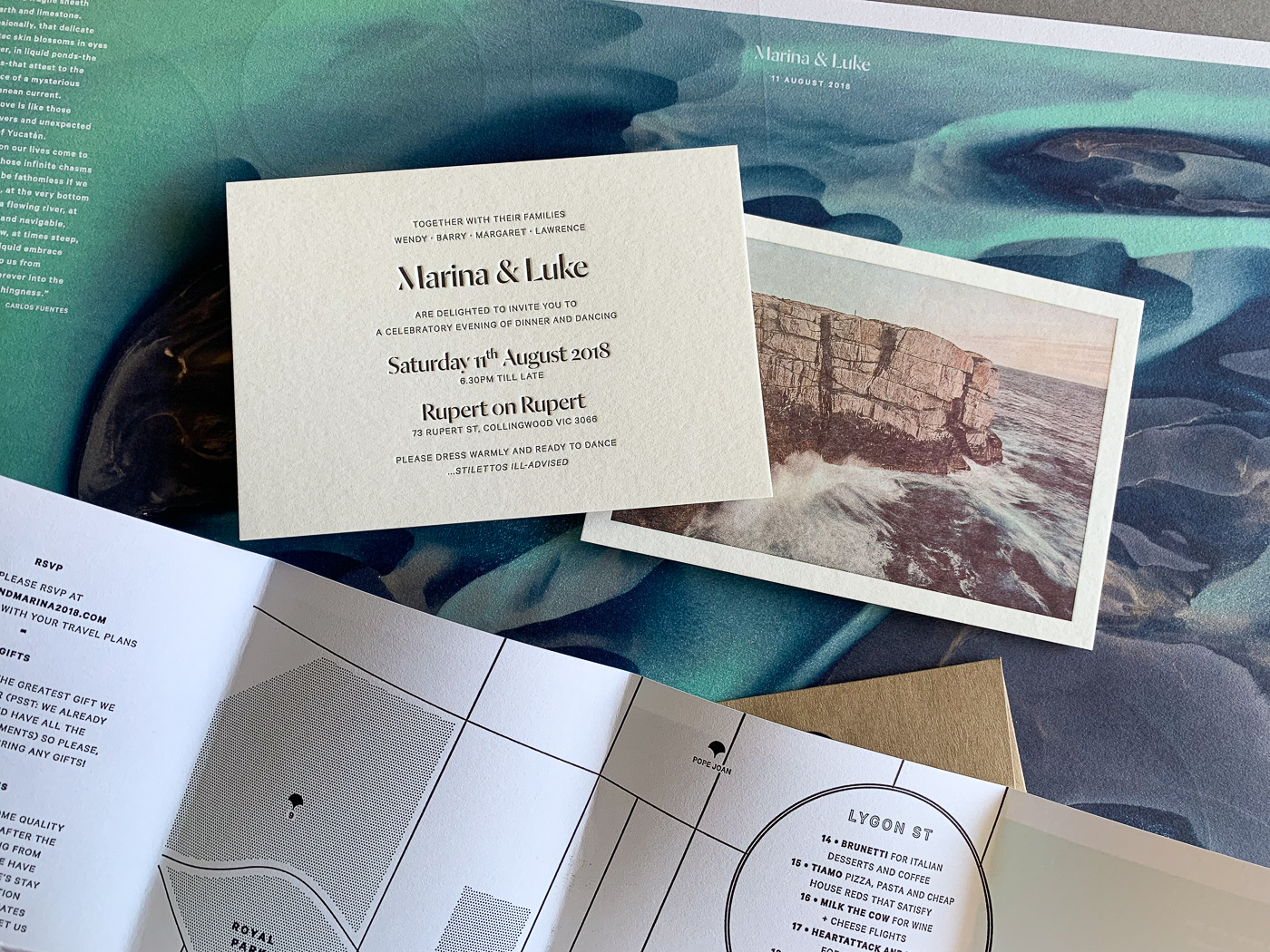 Unique letterpress photographic invitations designed for Marina and Luke on wild 1