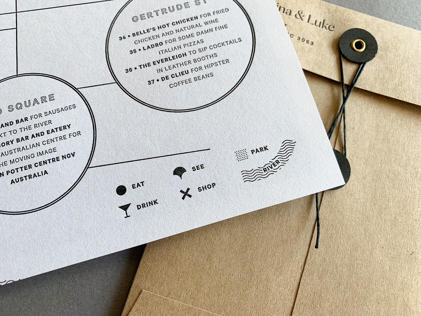 Unique letterpress photographic invitations designed for Marina and Luke on wild 4