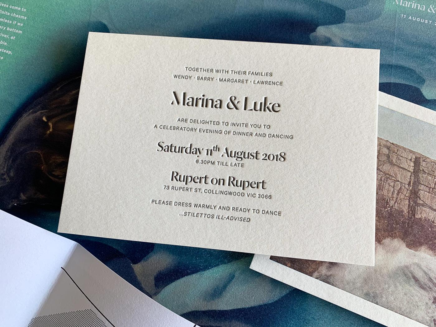 Unique letterpress photographic invitations designed for Marina and Luke on wild 8