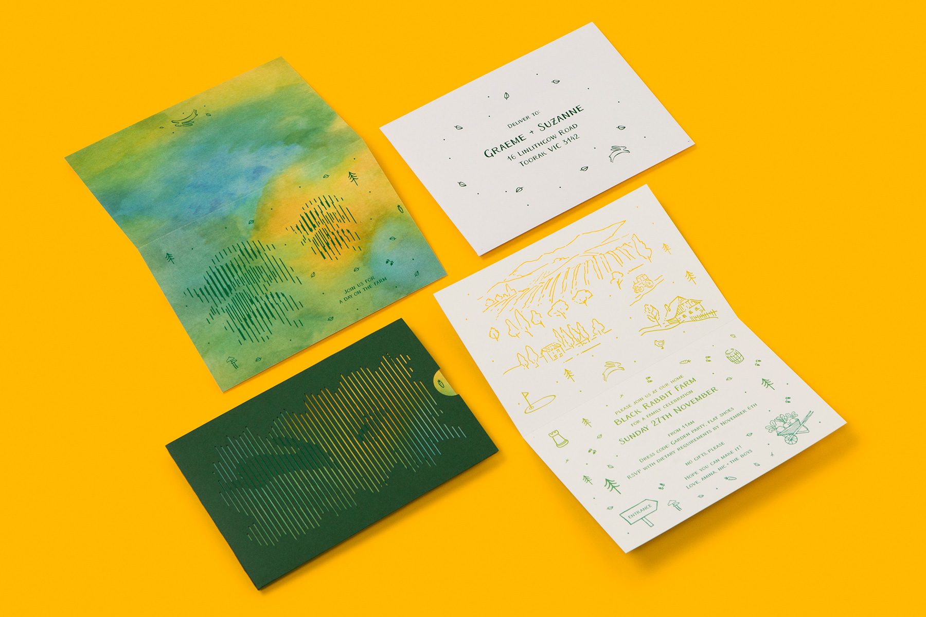 analogue lenticular unique letterpress invitation on Superfine Colorplan Forest