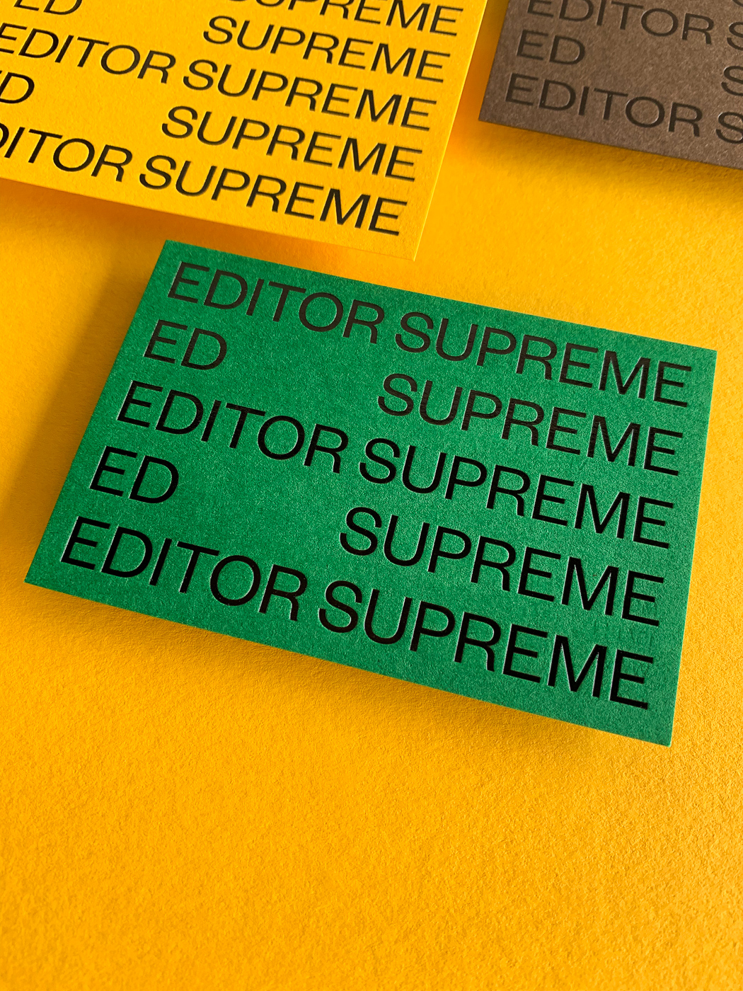 Black foil business cards for Ed Supreme on Colorplan 1